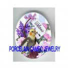 COCKATOO BIRD WELCOME ROSE* UNSET CAMEO PORCELAIN CAB 18X25