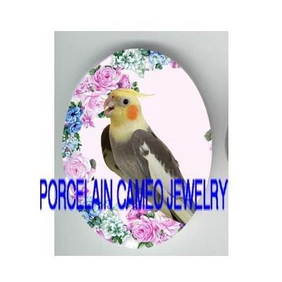 COCKATOO BIRD VICTORIAN ROSE* UNSET CAMEO PORCELAIN CAB 18X25MM