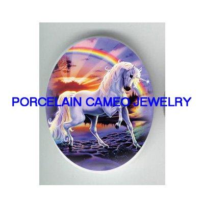 PURPLE UNICORN HORSE RAINBOW UNSET CAMEO PORCELAIN CAB