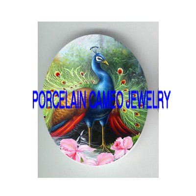 DANCING PEACOCK BIRD WITH ORCHID* UNSET CAMEO PORCELAIN CAB