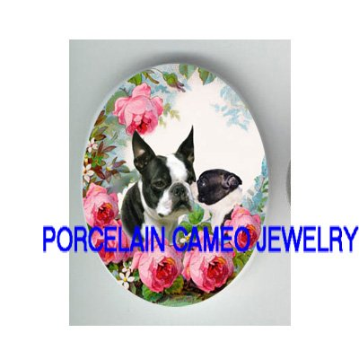 BOSTON TERRIER DOG MOM KISS PUPPY UNSET PORCELAIN CAMEO CAB
