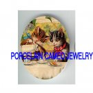 2 VICTORIAN KITTY CAT TEA PARTY COOKIE PORCELAIN CAMEO