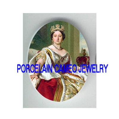 CROWN QUEEN VICTORIA UNSET CAMEO PORCELAIN CAB 30X40MM
