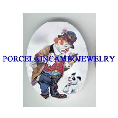CIRCUS CLOWN READ BOOK DOG* UNSET CAMEO PORCELAIN CAB