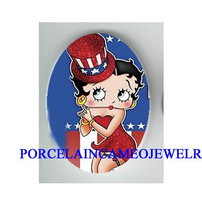 BETTY BOOP AMERICAN FLAG HAT* UNSET CAMEO PORCELAIN CAB