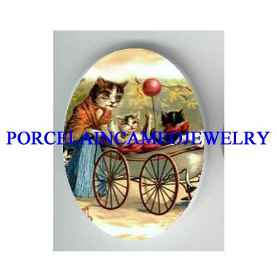 VICTORIAN KITTY CAT MOM BABY IN STROLLER * UNSET PORCELAIN CAMEO CAB