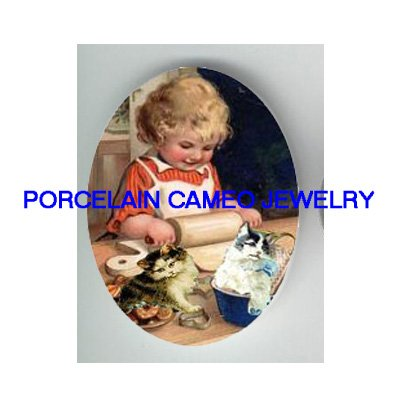 2 VICTORIAN KITTY CAT HELP GIRL BAKING* UNSET PORCELAIN CAMEO CAB