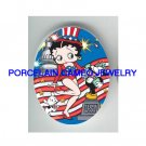 BETTY BOOP JULY 4TH DOG CAT* UNSET PORCELAIN CAMEO CAB
