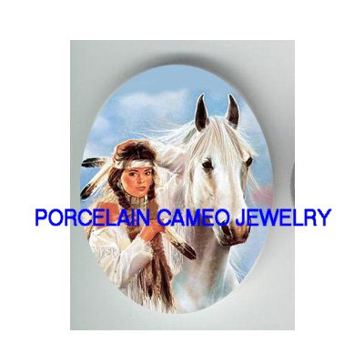 INDIAN PRINCESS WHITE STALLION HORSE PORCELAIN CAMEO CAB