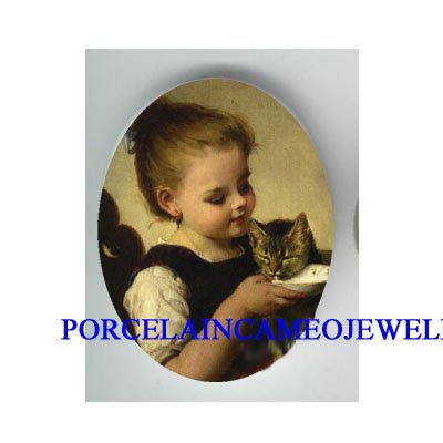 VICTORIAN GIRL FEED KITTY CAT * UNSET PORCELAIN CAMEO CAB