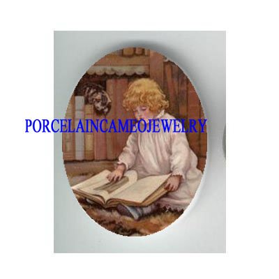 VICTORIAN GIRL READ TO KITTY CAT * UNSET PORCELAIN CAMEO CAB