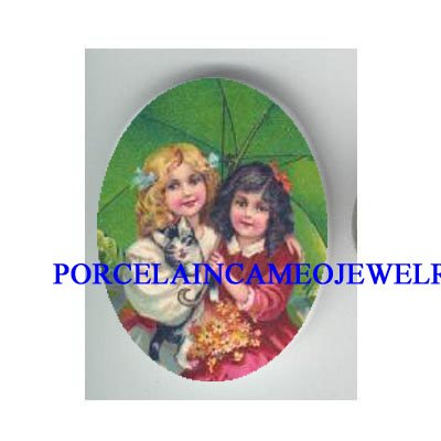 2 VICTORIAN SISTERS WITH KITTY CAT * UNSET PORCELAIN CAMEO CAB