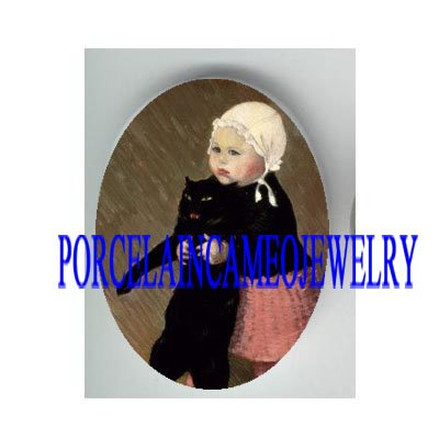 VICTORIAN GIRL HOLDING BLACK KITTY CAT * UNSET PORCELAIN CAMEO CAB