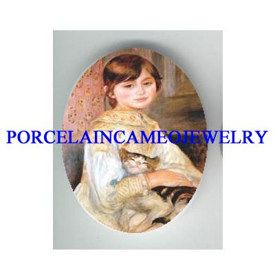 VICTORIAN GIRL HOLDING KITTY CAT * UNSET PORCELAIN CAMEO CAB