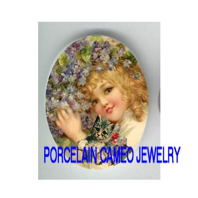 VICTORIAN VIOLET GIRL HOLDING KITTY CAT* UNSET PORCELAIN CAMEO CAB