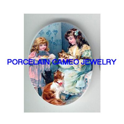 2 VICTORIAN SISTERS FEED KITTY CAT COOKIE* UNSET PORCELAIN CAMEO CAB