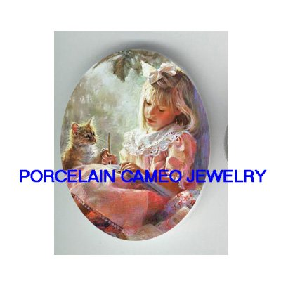 VICTORIAN GIRL TEACHING KITTY CAT* UNSET PORCELAIN CAMEO CAB