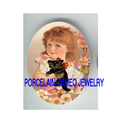 VICTORIAN GIRL HOLDING KITTY CAT WILD ROSE* UNSET PORCELAIN CAMEO CAB