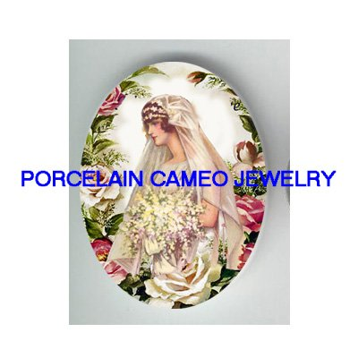 VICTORIAN VINTAGE BRIDE WITH ROSE* UNSET PORCELAIN CAMEO CAB