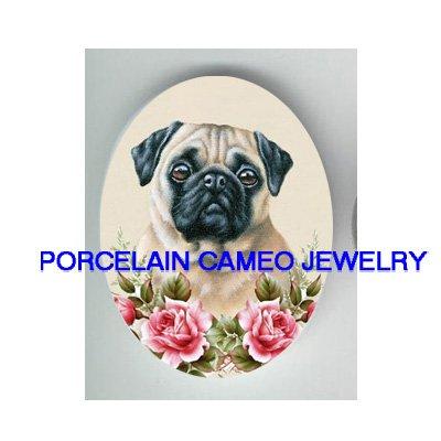SWEET PUG DOG WITH ROSE* UNSET PORCELAIN CAMEO CAB