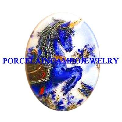 BLUE AND GOLD UNICORN HORSE UNSET CAMEO PORCELAIN CABOCHON 30X40
