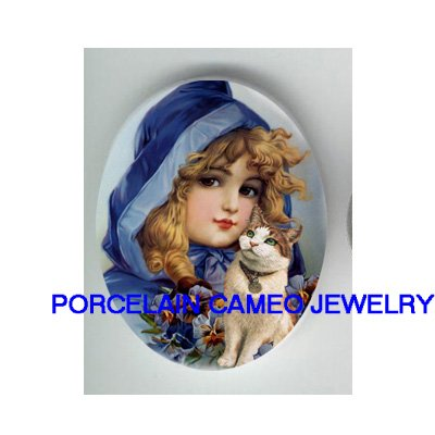 VICTORIAN BLUE HOOD PANSY GIRL KITTY CAT* UNSET PORCELAIN CAMEO CAB