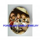 3 VICTORIAN SISTERS BEST FRIEND HOLD KITTY CAT* UNSET PORCELAIN CAMEO CAB