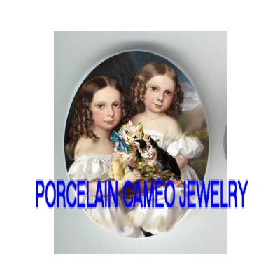 2 VICTORIAN SISTERS HOLD KITTY CAT* UNSET PORCELAIN CAMEO CAB