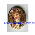VICTORIAN PANSY GIRL KITTY CAT* UNSET PORCELAIN CAMEO CAB