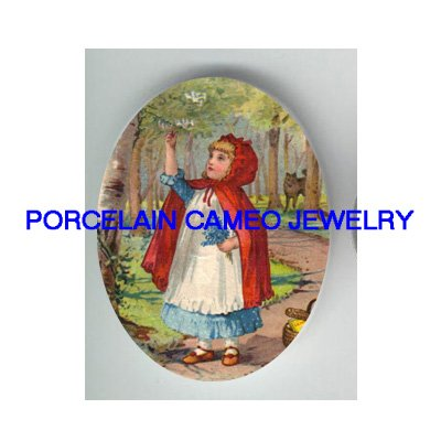 LITTLE RED RIDING HOOD PICK FLOWER WOLF PORCELAIN CAMEO