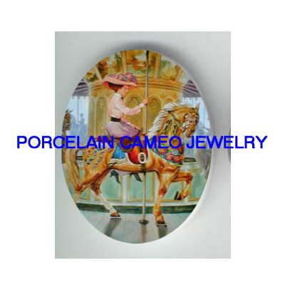 VICTORIAN LADY RIDING ON CAROUSEL HORSE   * UNSET PORCELAIN CAMEO CAB