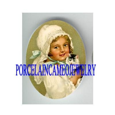 VICTORIAN WHITE HAT GIRL HOLD KITTY CAT * UNSET PORCELAIN CAMEO CAB