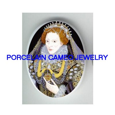 JEWELED QUEEN ELIZABETH* UNSET PORCELAIN CAMEO CAB