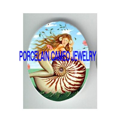 ROSE FLOWER MERMAID RIDING SEASHELL PORCELAIN CAMEO CAB