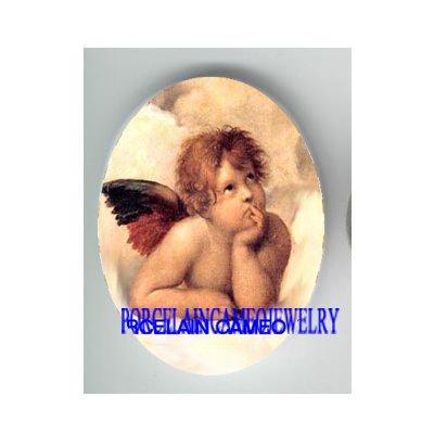 RAPHAEL ANGEL CHERUB UNSET CAMEO PORCELAIN CAB 30X40MM