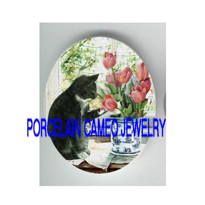 BLACK WHITE CAT PLAYING TULIPS WINDOW* UNSET PORCELAIN CAMEO CAB
