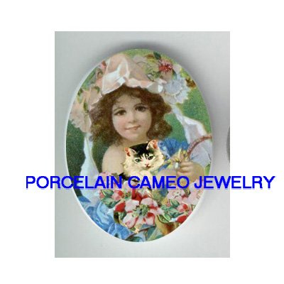 VICTORIAN GIRL ROSE FLOWER WITH KITTY CAT* UNSET PORCELAIN CAMEO CAB