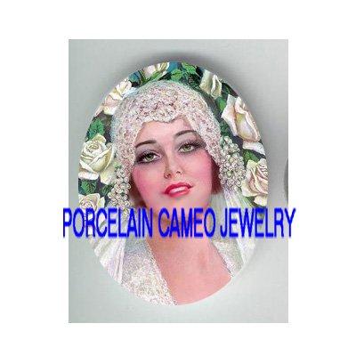 VINTAGE WEDDING BRIDE ROSE* UNSET PORCELAIN CAMEO CAB