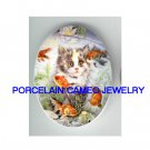 KITTY CAT WITH GOLDFISH* UNSET PORCELAIN CAMEO CAB