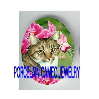 TABBY CAT WITH PINK ORCHID * UNSET PORCELAIN CAMEO CAB