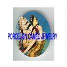 ART DECO NOUVEAU BUTTERFLY FAIRY LADY* UNSET PORCELAIN CAMEO CAB
