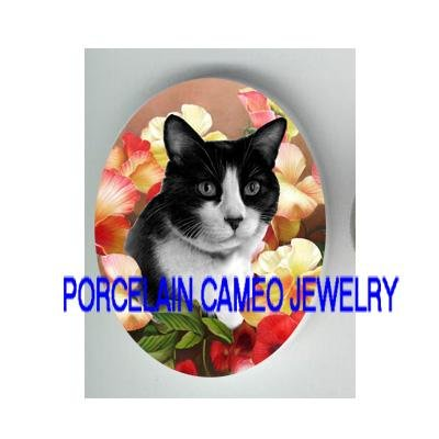 BLACK WHITE CAT PINK PANSY* UNSET PORCELAIN CAMEO CAB