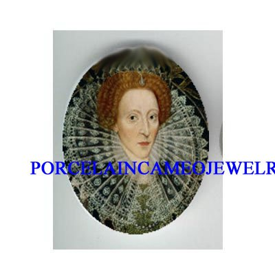 IRISH GREEN QUEEN ELIZABETH * UNSET PORCELAIN CAMEO CAB