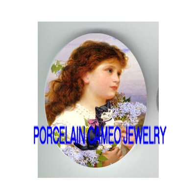 VICTORIAN GIRL KITTY CAT PLAY LILACS * UNSET PORCELAIN CAMEO CAB