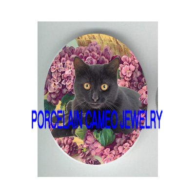 BLACK CAT WITH VIOLET* UNSET PORCELAIN CAMEO CAB