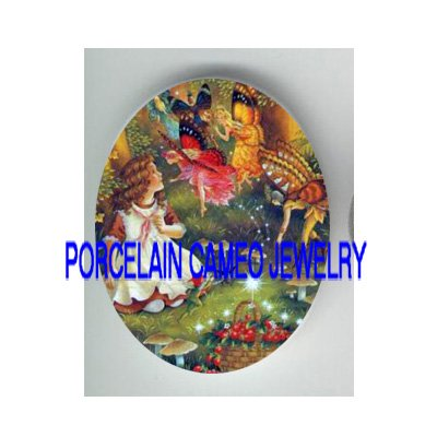 STRAWBERRY GIRL WITH BUTTERFLY FAIRY* UNSET PORCELAIN CAMEO CAB