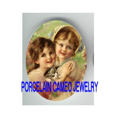 2 VICTORIAN HUGGING SISTER FRIEND KITTY CAT* UNSET PORCELAIN CAMEO CAB