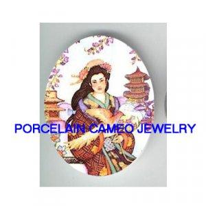 JAPAN GEISHA TEMPLE ORCHID* UNSET PORCELAIN CAMEO CAB