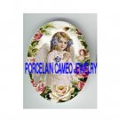 VICTORIAN PRAYING VIOLET ANGEL GIRL  ROSE * UNSET PORCELAIN CAMEO CAB