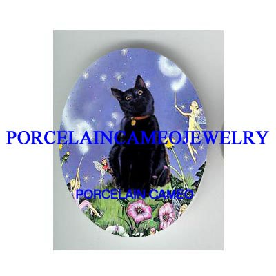 BLACK CAT WITH BUTTERFLY FAIRY PORCELAIN CAMEO CAB